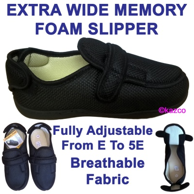 Extra Wide Slippers With Memory Foam Insole
