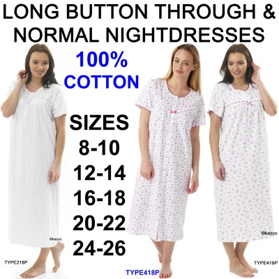 100% Cotton Button Through & Normal Short Sleeve Nightdresses