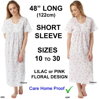 48 Inch Long Ladies Short Sleeve Nightdress