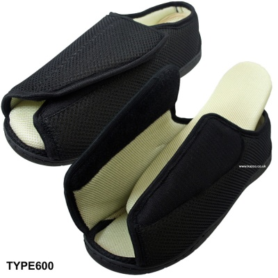 Extra Wide Slippers Open Toe Velcro Fastening