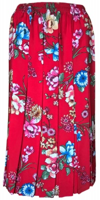 Floral And Patterned Pleated Skirts With A Full Elastic Waist