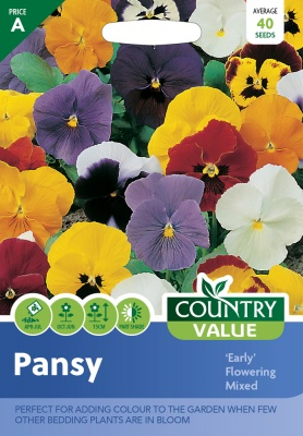 Pansy Seeds 'Early Flowering Mixed' by Country Value
