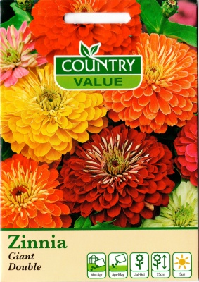 Zinnia Flower Seeds 'Giant Double Mixed' by Country Value