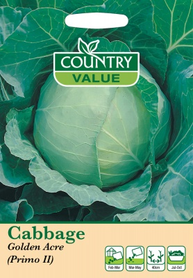Cabbage Seeds Golden Acre Primo 11 by Country Value