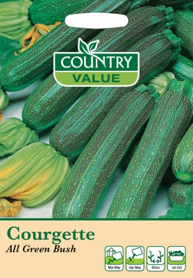 Courgette Seeds All Green Bush by Country Value