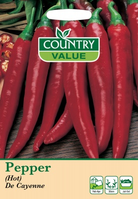 Pepper Seeds (Hot) De Cayenne by Country Value
