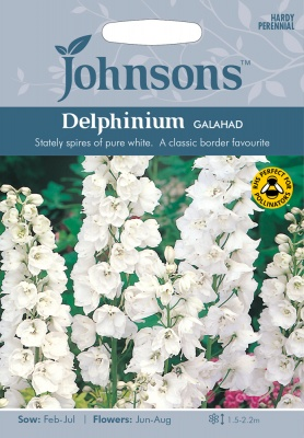 Delphinium Seeds Variety 'Galahad' By Johnsons Seeds