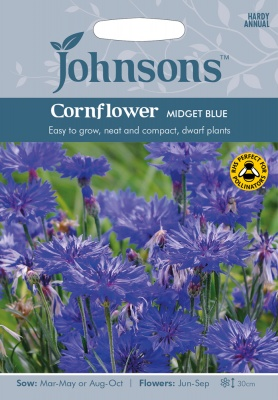 Cornflower Seeds 'Midget Blue' by Johnsons