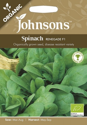Organic Spinach Seeds Renegade F1 by Johnsons