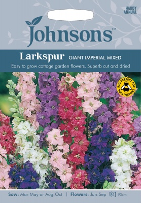 Larkspur Seeds 'Giant Imperial Mixed' by Johnsons