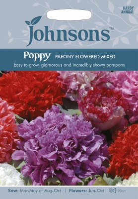 Poppy Seeds 'Paeony Flowered Mixed' by Johnsons