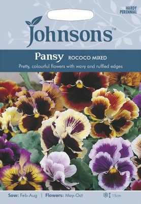 Pansy 'Rococo Mixed' Seeds By Johnsons