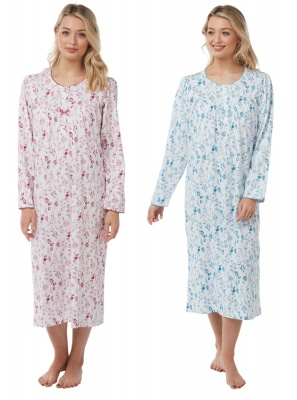 Long Sleeve Jersey Cotton Nightdress With Floral Pattern
