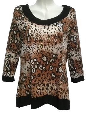 Saloos Leopard Print Tunic Top