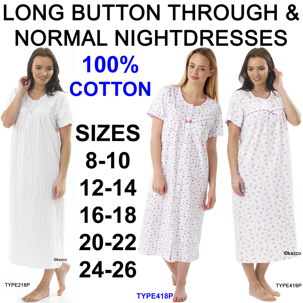 1b17f5b425 100% Cotton Button Through   Normal Short Sleeve Nightdresses ...