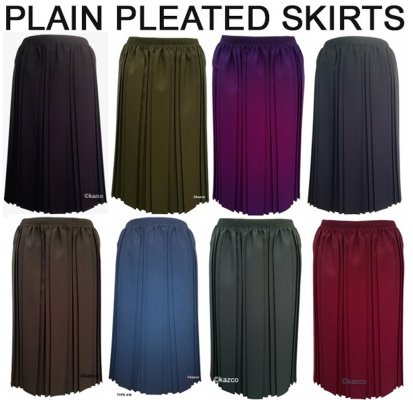 Plain Pleated Skirts With Elastic Waist