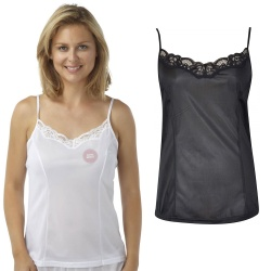 Cami Top With Adjustable Straps & Lace Trim - Cling Resistant