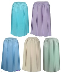 Plain Pleated Skirts With Elastic Waist In Pastel Colours