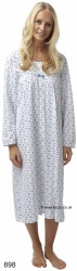 Cotton, Long Sleeve Button Through Nightdress