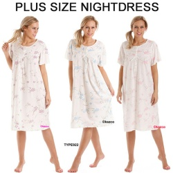 Plus Size Short Sleeve Jersey Nightdress