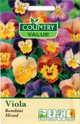 Viola Flower Seeds 'Bambini Mixed' By Country Value
