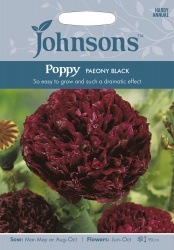 Poppy 'Paeony Black' Seeds by Johnsons