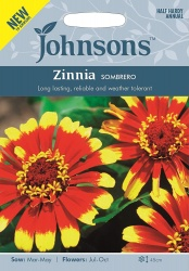 Zinnia Sombrero Seeds by Johnsons Approx 50 Seeds