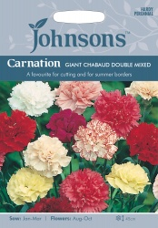 Carnation Seeds 'Giant Chabaud Double Mixed' by Johnsons