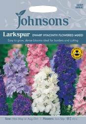 Larkspur Seeds 'Dwarf Hyacinth Flowered Mixed' by Johnsons