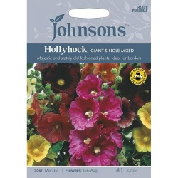Hollyhock Giant Single Mixed Seeds by Johnsons