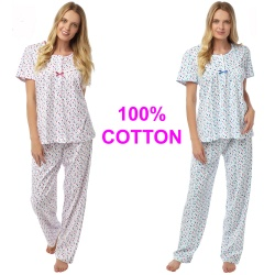 Ladies Short Sleeve Cotton Pyjamas by Marlon